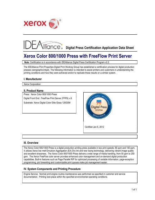 Xerox Color 800/1000 Press with FreeFlow Print Server