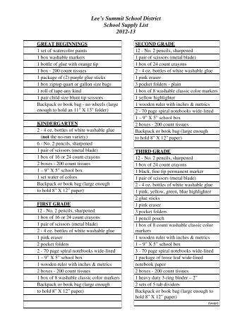 School Supply List - Lee's Summit R-7 School District