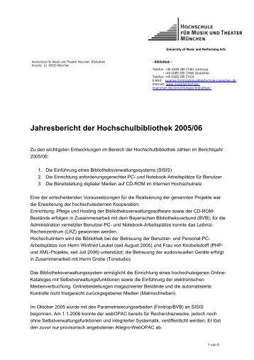 Jahresbericht der Hochschulbibliothek 2005/06 - Hochschule für ...