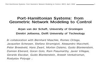 Port-Hamiltonian Systems: from Geometric Network Modeling to ...