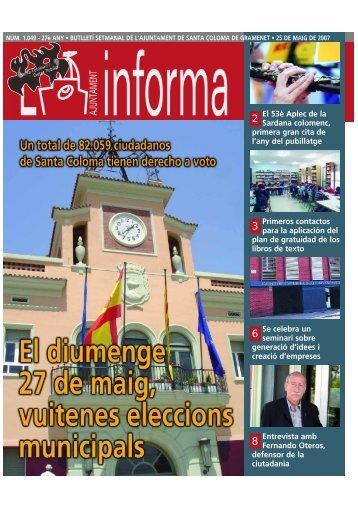 L'Ajuntament Informa-1049-25/05/07 - Ajuntament de Santa Coloma ...