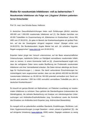 Risiko für nosokomiale Infektionen - Medizinrecht-schulte-sasse.de