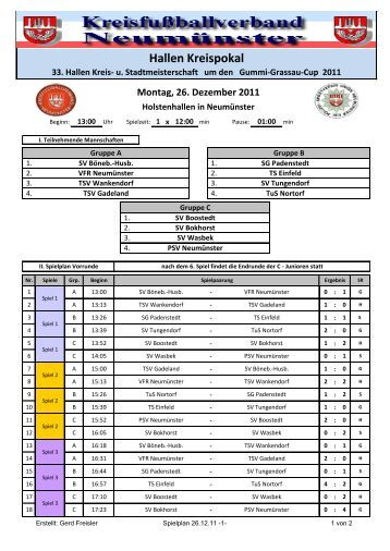 Spielplan 26.12.11 - TuS Nortorf