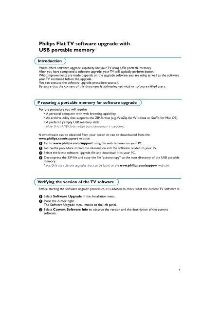 Philips tv software upgrade with portable memory | manualzz. Com.