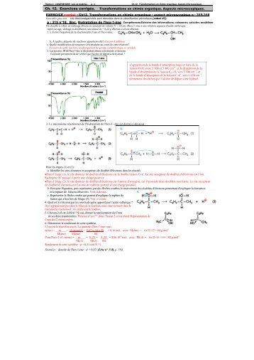 Ch. 12. Exercices corrigés. Transformations en chimie organique ...