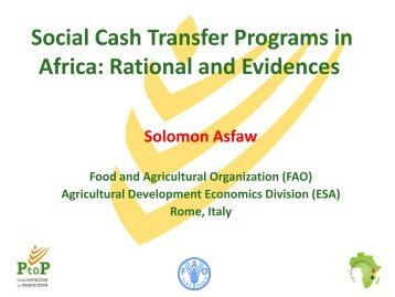 Social Cash Transfer Programs in Africa: Rational and Evidences