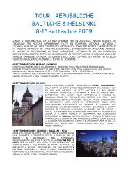 TOUR REPUBBLICHE BALTICHE & HELSINKI 8-15 settembre 2009