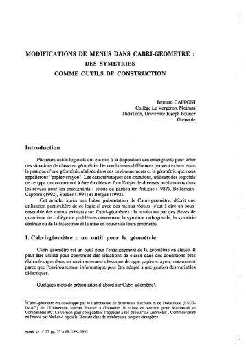 Texte intégral - IREM de Grenoble - Université Joseph Fourier