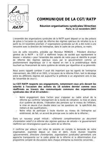 COMMUNIQUE DE LA CGT/RATP - Fédération CGT des transports