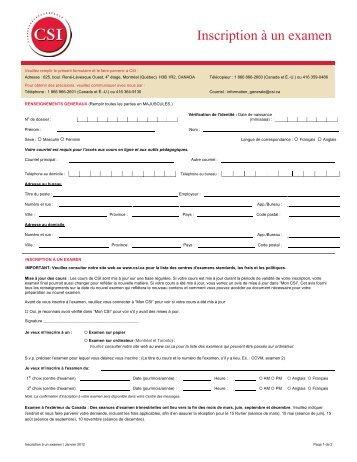 Téléchargez le Formulaire d'inscription à un examen