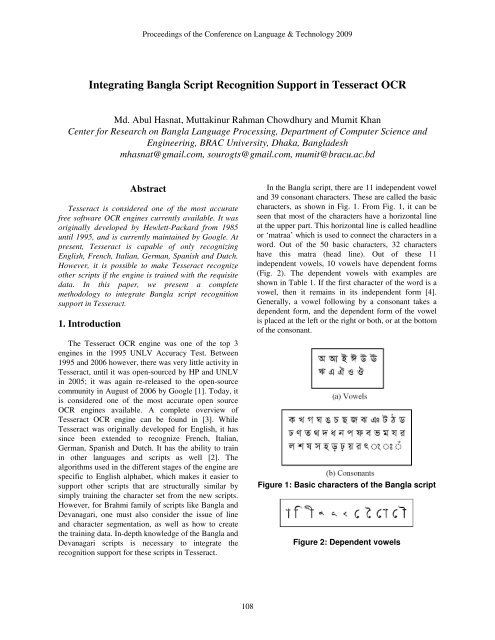 Integrating Bangla Script Recognition Support in Tesseract OCR
