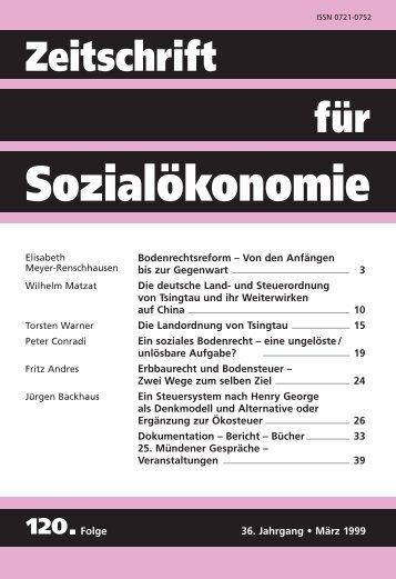 Bodenrechtsreform - Zeitschrift für Sozialökonomie