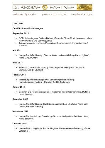 Lenk, Tina Qualifikationen/Fortbildungen ... - Dr. Krigar und Partner