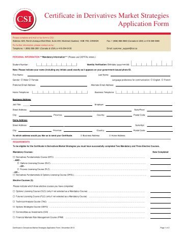 Certificate In Investment Dealer Compliance Application Form