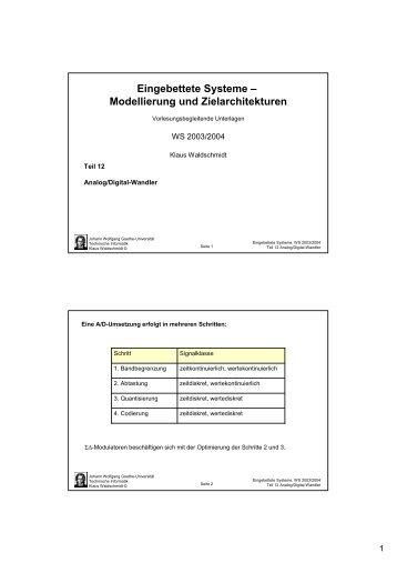 Eingebettete Systeme - Technische Informatik an der Universität ...