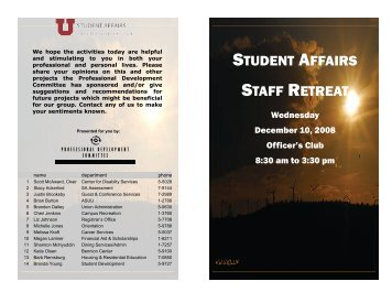 December 10, 2008 - Student Affairs - University of Utah