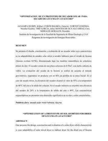"""""""OPTIMIZACION DE UN PROTOTIPO DE SECADOR SOLAR PARA ..."""