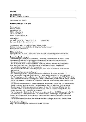 Lörrach 20.-21.07.2013 bis Kl. L, mit LP und WB - greiner edv ...