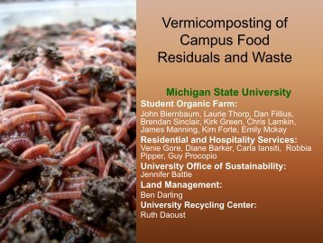 Vermicomposting of Campus Food Residuals and Waste - Organic ...