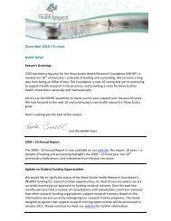 December 2010 » E-news - Nova Scotia Health Research Foundation