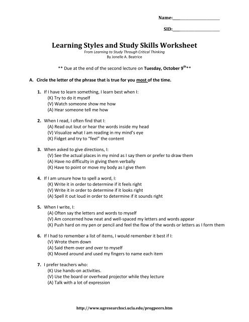 learning to study through critical thinking jonelle beatrice