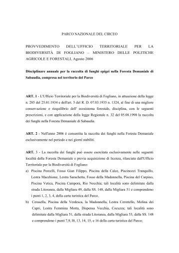 disciplinare annuale per la raccolta di funghi epigei nella ... - Parks.it