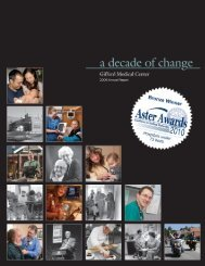 Annual Report 2009 - Gifford Medical Center