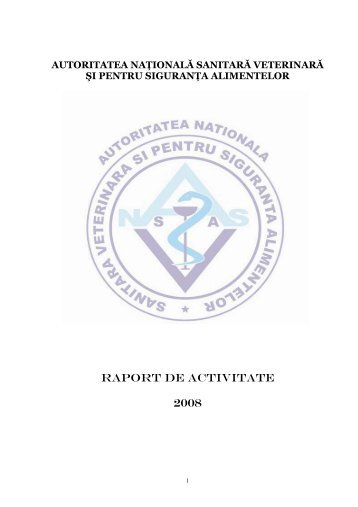 RAPORT DE ACTIVITATE PE ANUL 2008 - ansvsa