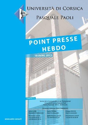 point presse hebdo - Università di Corsica Pasquale Paoli