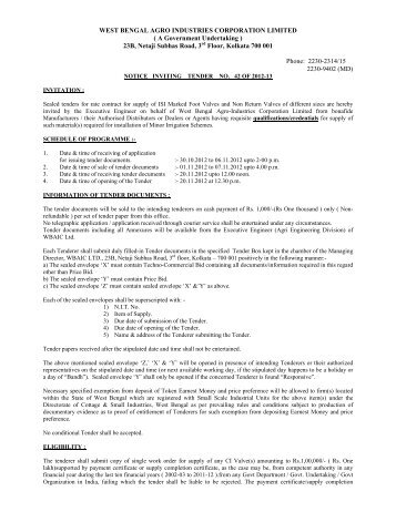 Tender_Notice_NIT42 - West Bengal Agro Industries Corporation ...
