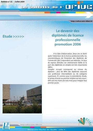 Le devenir des diplômés de licence professionnelle ... - OFIVE - Lille 3