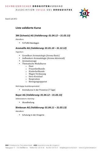 Liste validierte Kurse