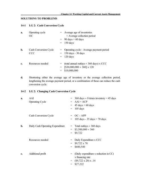 SOLUTIONS TO PROBLEMS 14 1 LG 2 Cash Conversion Cycle A