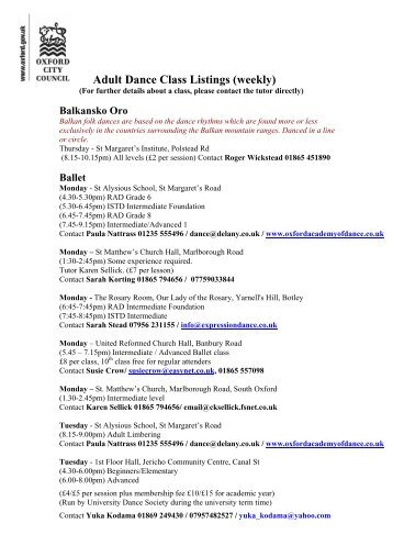 Adult Dance Class Listings (weekly) - Oxford City Council