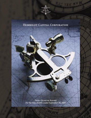 2005 Third Quarter Report - Humboldt Capital Corporation