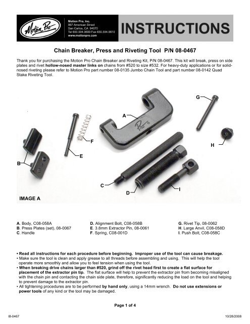 the Motion Pro Chain Breaker Tool Instructions - Happy-Trail com
