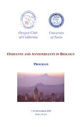 Oxygen Club of California University of Turin OXIDANTS AND