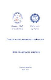 OXIDANTS AND ANTIOXIDANTS IN BIOLOGY - Oxygen Club of ...