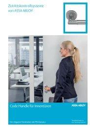 Code Handle für Innentüren Zutrittskontrollsysteme von ASSA ABLOY