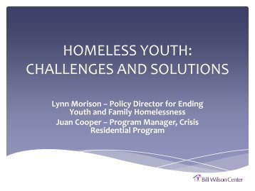 HOMELESS YOUTH: CHALLENGES AND SOLUTIONS - Storage