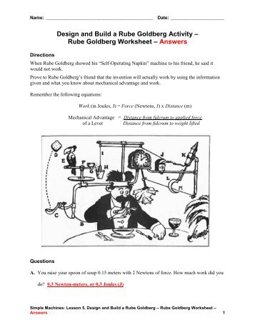 Rube Goldberg Worksheet – Answers - Teach Engineering