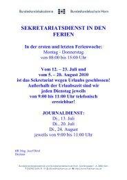 Informationen zu Sekretariatszeiten in den Ferien und zum ...