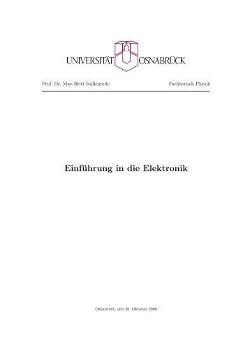 Einführung in die Elektronik - Numerische Physik: Modellierung