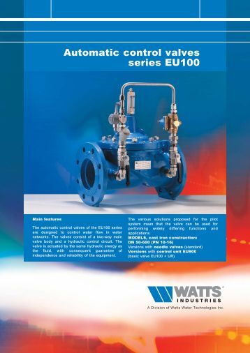 Automatic control valves series EU100 - Watts Industries