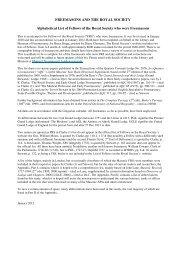 FREEMASONS AND THE ROYAL SOCIETY Alphabetical List of ...