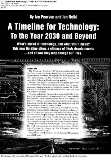 ian pearson timeline for technology