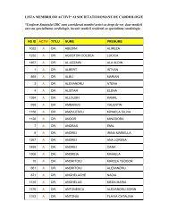lista membrilor activi* ai societatii romane de ... - Cardioportal