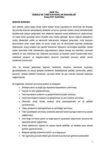 2006 Yılı Faaliyet Raporu - Enerji ve Tabii Kaynaklar Bakanlığı