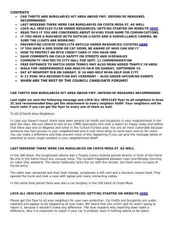 09.07.12 Tips and Car Theft Prevention, Coyotes ... - Cmprepared.com
