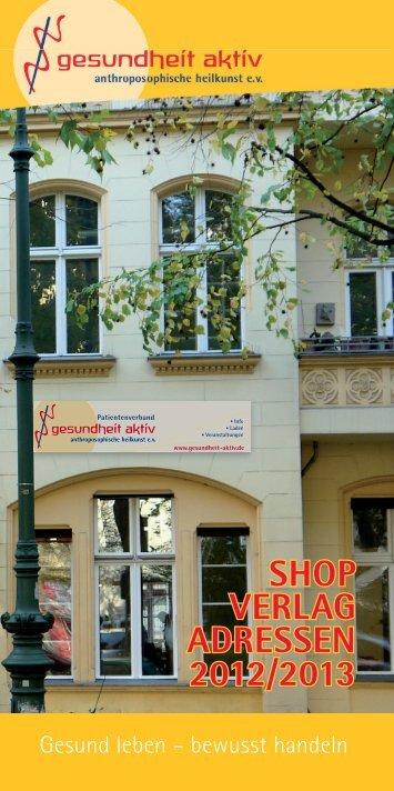 Shop Verlag adreSSen 2012/2013 - Gesundheit-Aktiv